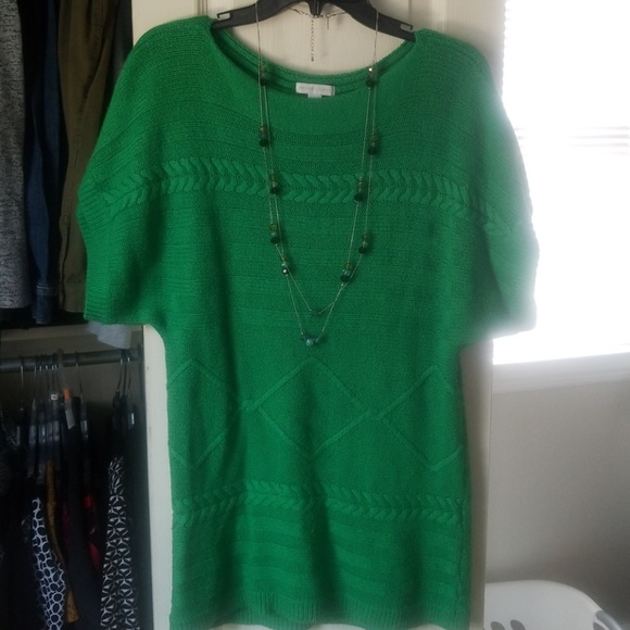 New York & Co Green short sleeve sweater, necklace